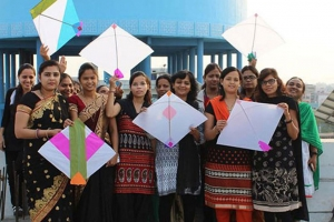 A colourful evening with colourful kites Makar-Sankranti 2016